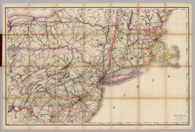 Rand, McNally & Co.'s New Shippers' Railroad Map of the United States. Scale: 8 miles to one inch. Showing all railroads, each in a separate color, and all railroad stations in large, plain type. This is the New York section, only, of the above-named map. (Below the neatline) Rand, McNally & Co.'s New Shippers' Railroad Map of the United States, Copyright, 1888 by Rand, McNally & Co. Copyright, 1891 by Rand, McNally & Co.