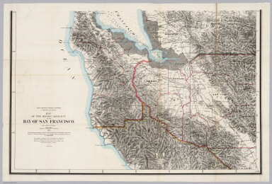 (South Sheet) State Geological Survey Of California. J.D. Whitney, State Geologist. Map Of The Region Adjacent To The Bay Of San Francisco. 1873. The Coast, Rancho, Township and Section Lines from Materials furnished by the U.S. Coast Survey and the U.S. Surveyor General's Office, the Topography chiefly from Original Surveys by C.F. Hoffman ... Julius Bien, Lith.