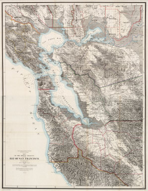 (Composite) State Geological Survey Of California. J.D. Whitney, State Geologist. Map Of The Region Adjacent To The Bay Of San Francisco. 1873. The Coast, Rancho, Township and Section Lines from Materials furnished by the U.S. Coast Survey and the U.S. Surveyor General's Office, the Topography chiefly from Original Surveys by C.F. Hoffman ... Julius Bien, Lith.