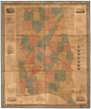 An Accurate Map of the State of Alabama and West Florida: Carefully compiled from the original surveys of the General Government, designed to exhibit at one view each Section and Fractional Section, so that each person can point to the tract on which he lives, By John La Tourette, Mobile, Ala. Engraved by S. Stiles & Co. New York. Anno Domini 1838. Printed by Colton & Co.