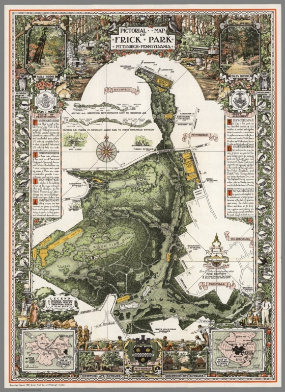 Pictorial Map of Frick Park, Pittsburgh, Pennsylvania