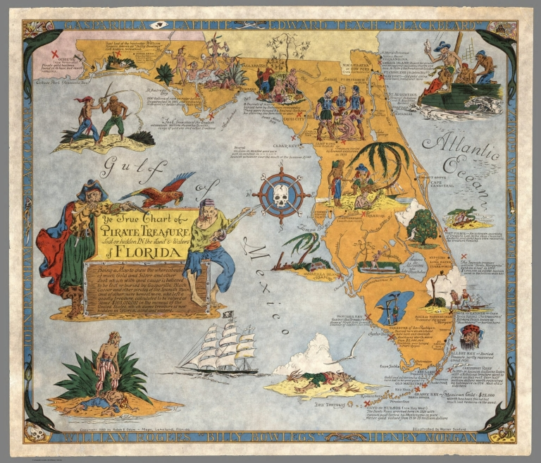 Ye True Chart of Pirate Treasure Lost or Hidden In the Land & Waters of Florida.