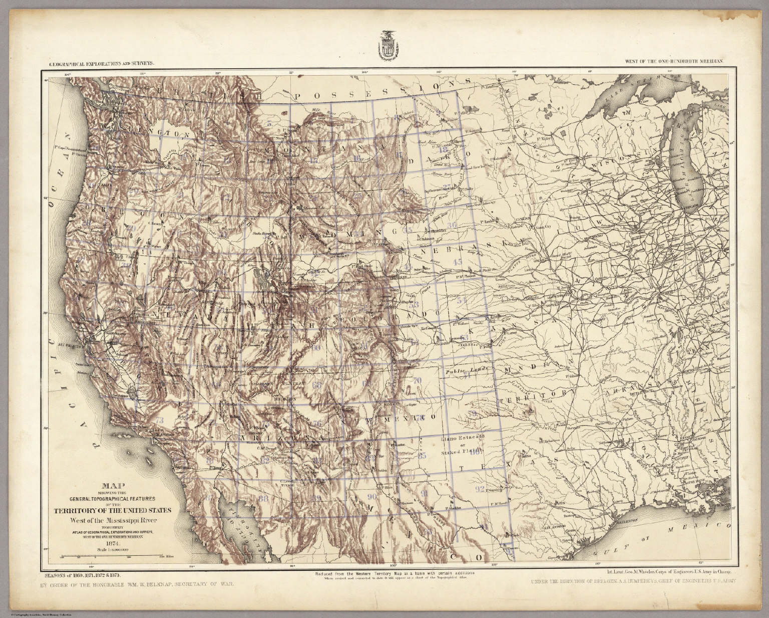 Map Showing The General Topographical Features West Of The - Us map west of the mississippi