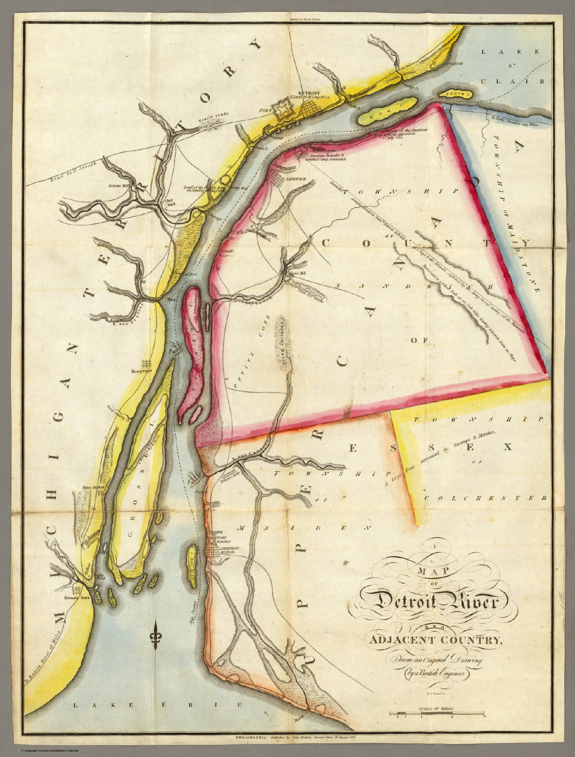 Map Of Detroit River And Adjacent Country David Rumsey - Map of new orleans rivers