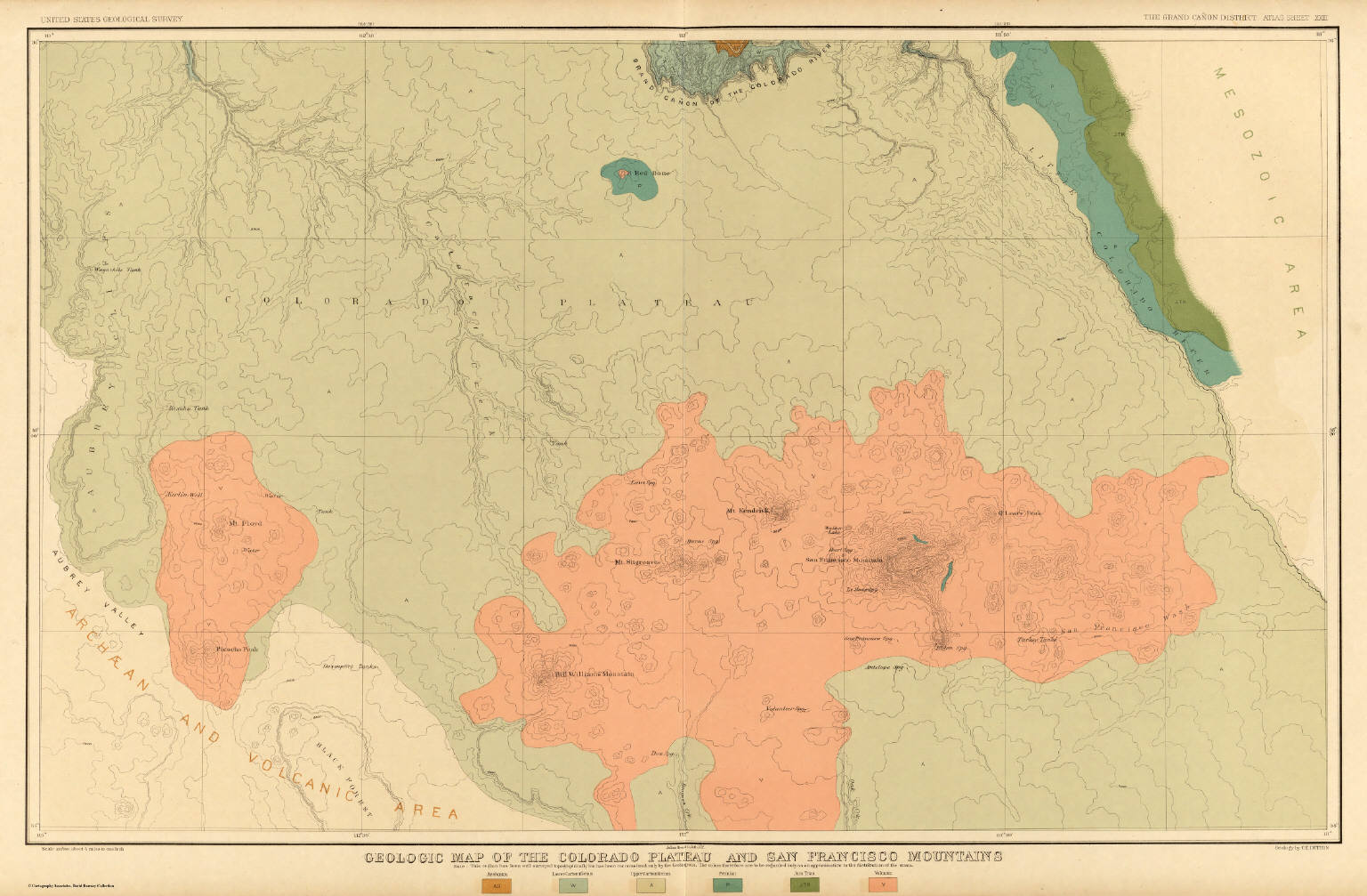 Map Of The Colorado Plateau And San Francisco Mountains  Dutton - Map of colorado plateau region