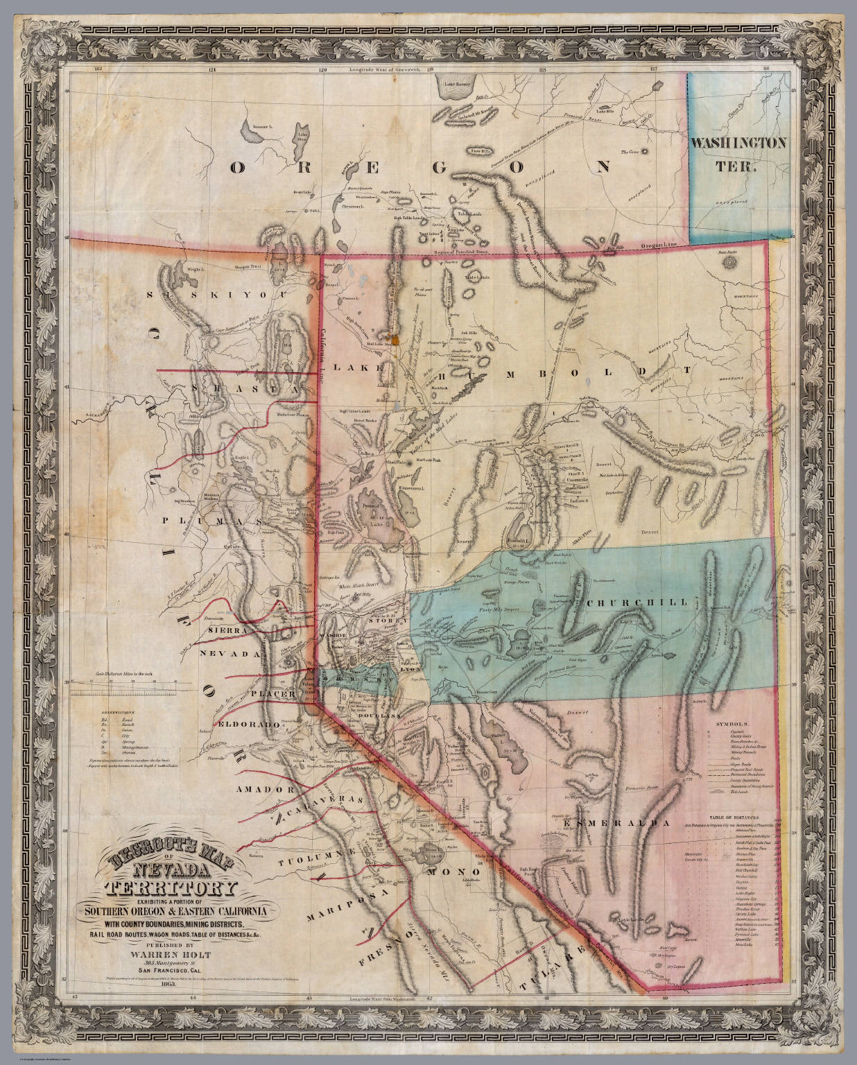 DeGroots Map Of Nevada Territory David Rumsey Historical Map - Map of nevada