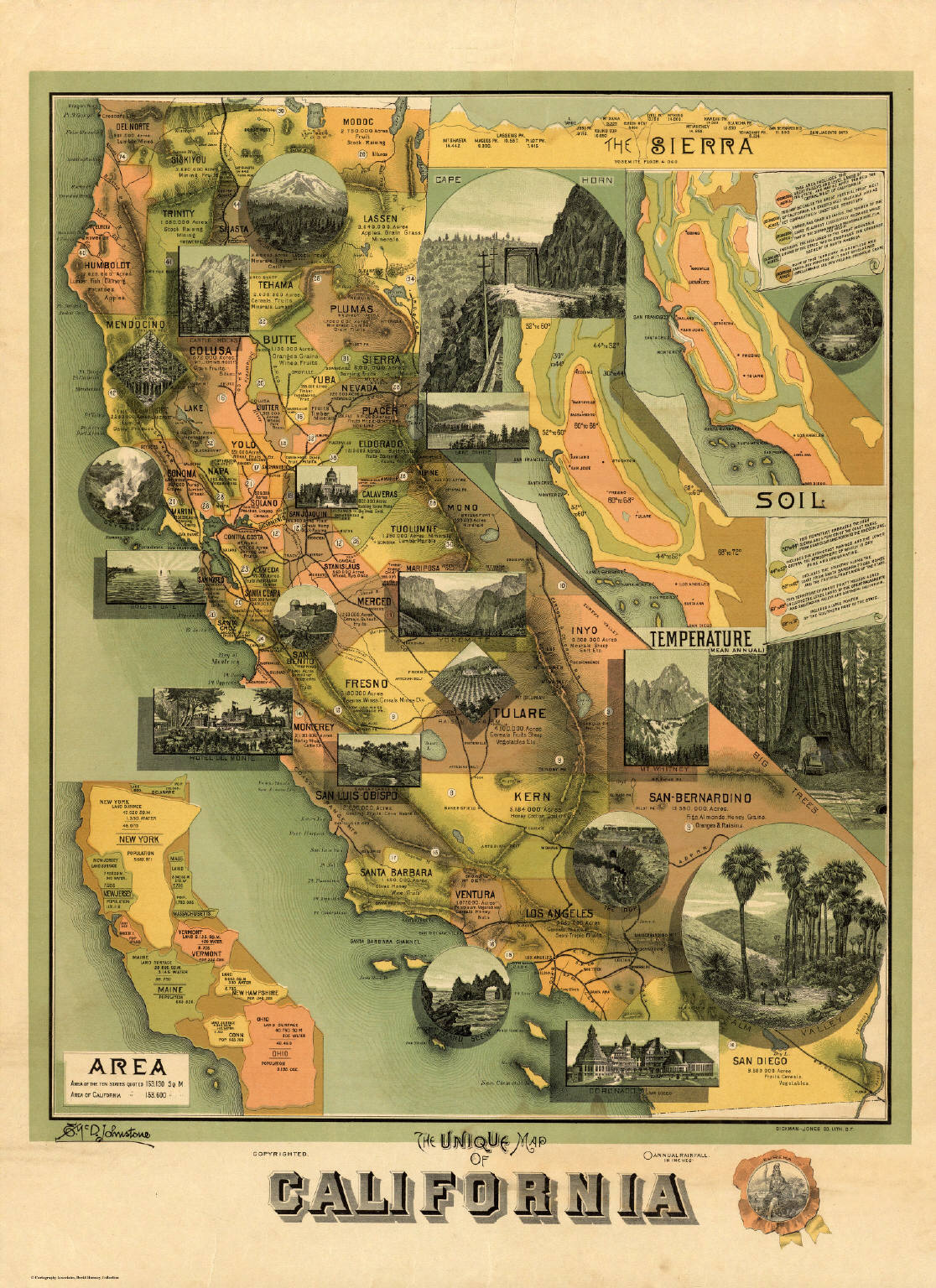 The Unique Map of California. Copyrighted. E. McD. Johnstone. Dickman-Jones Co. Lith. S.F. (1885)
