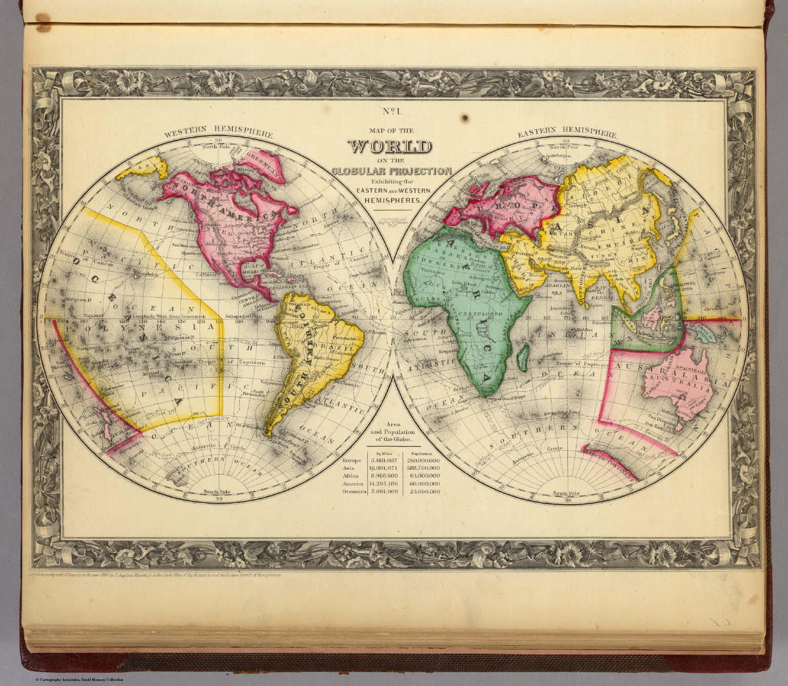 Map Of The World On The Globular Projection