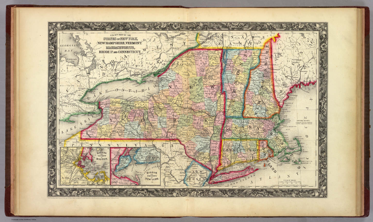 County Map Of The States Of New York New Hampshire Vermont - Us states map new york