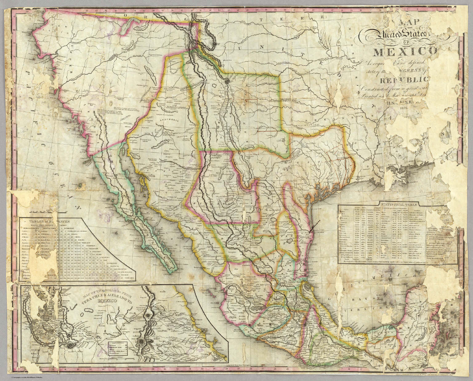 Map Of The United States Of Mexico Tanner Henry S 1826 – Map United States and Mexico