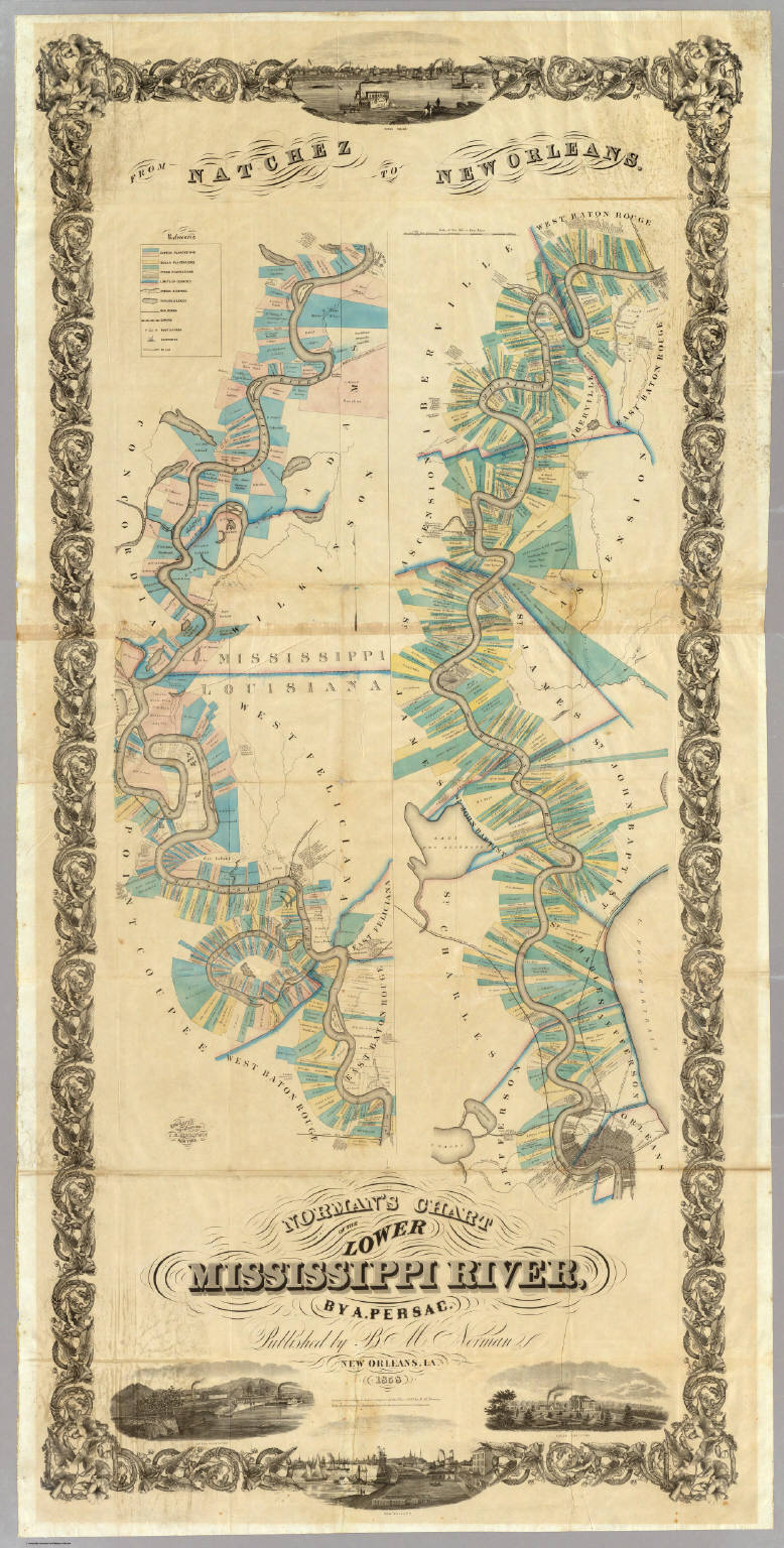 Of The Lower Mississippi River  Norman BM  Persac A - Map of new orleans rivers