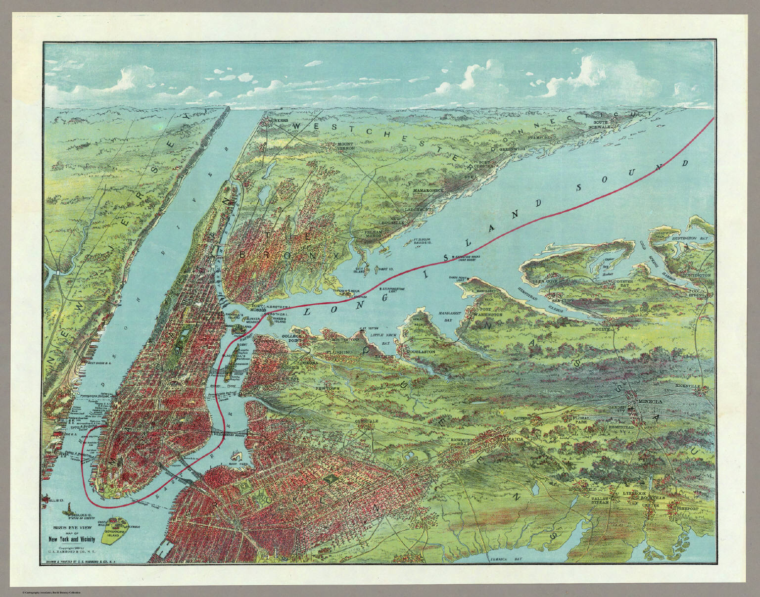 Eye View Map New York And Vicinity Hammond C S 1909