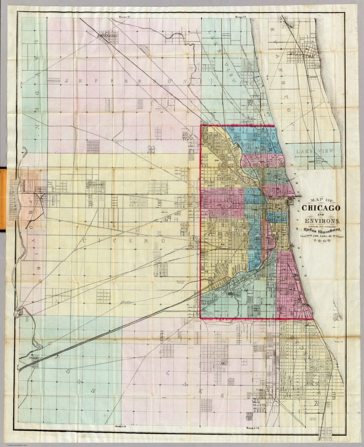 Map Of Chicago And Environs David Rumsey Historical Map Collection