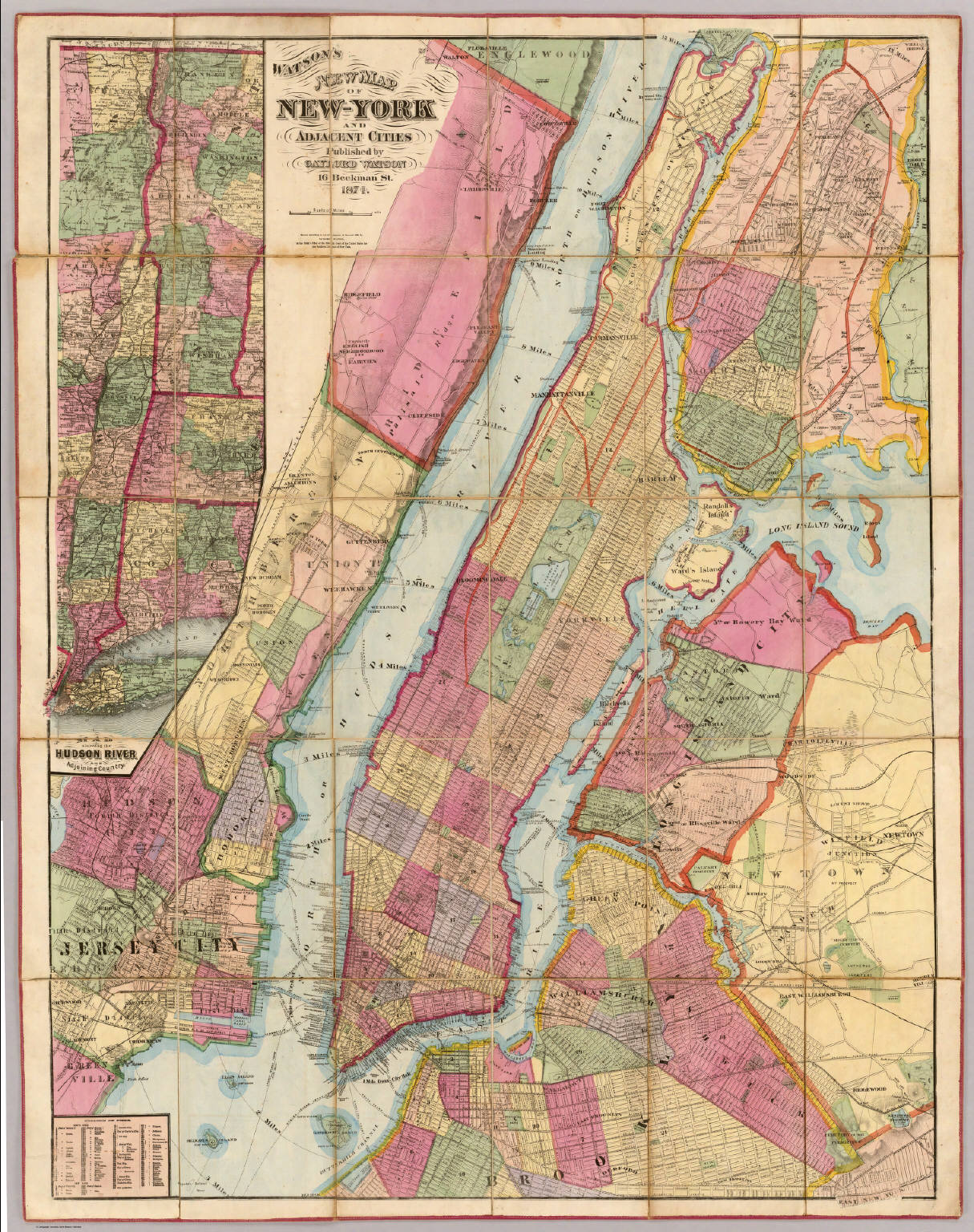Watsons New Map Of NewYork And Adjacent Cities David Rumsey - New york map hudson river
