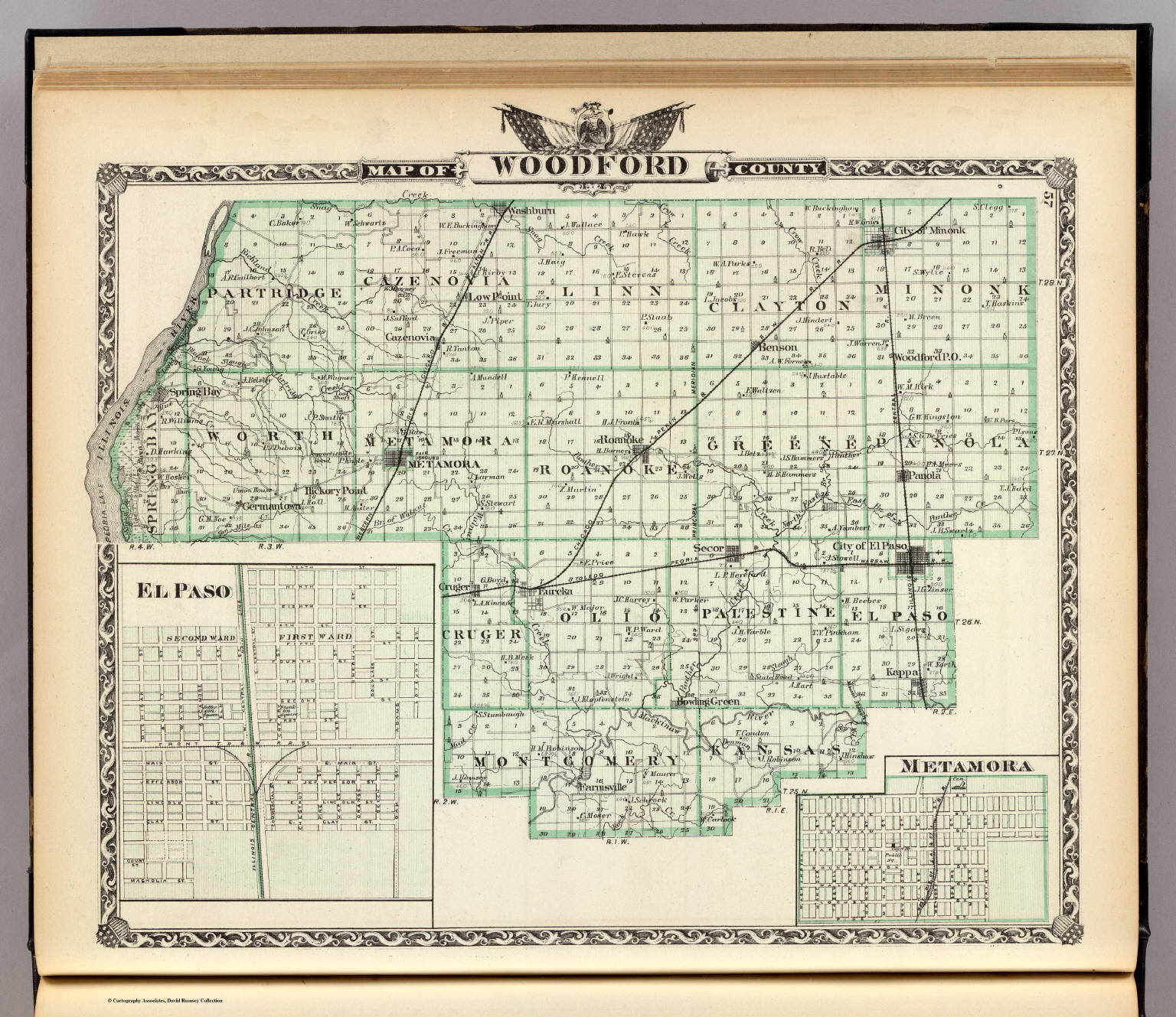 Illinois woodford county metamora - Map Of Woodford County El Paso And Metamora David Rumsey Historical Map Collection