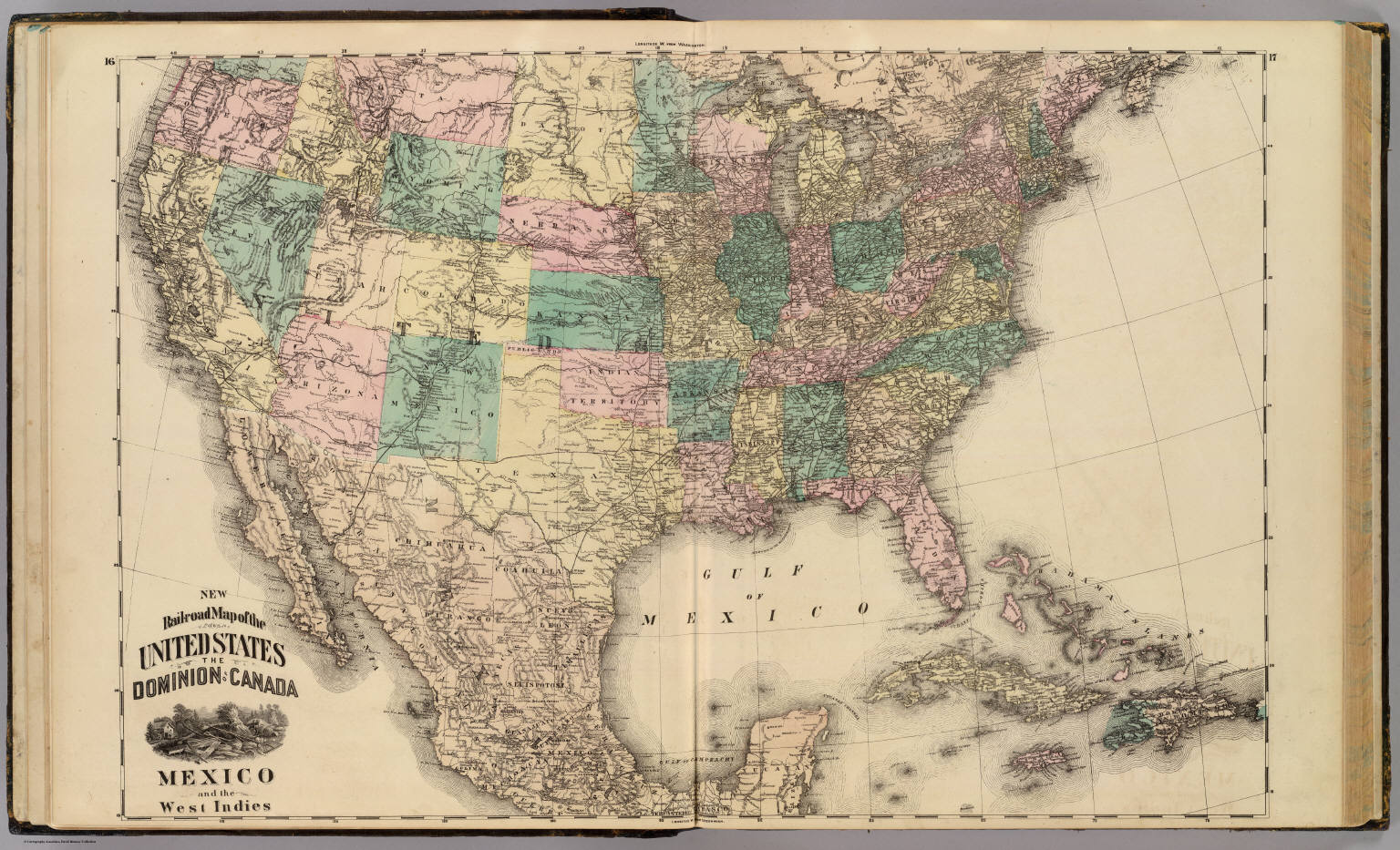New railroad map of the United States Canada Mexico and the – Map United States and Mexico