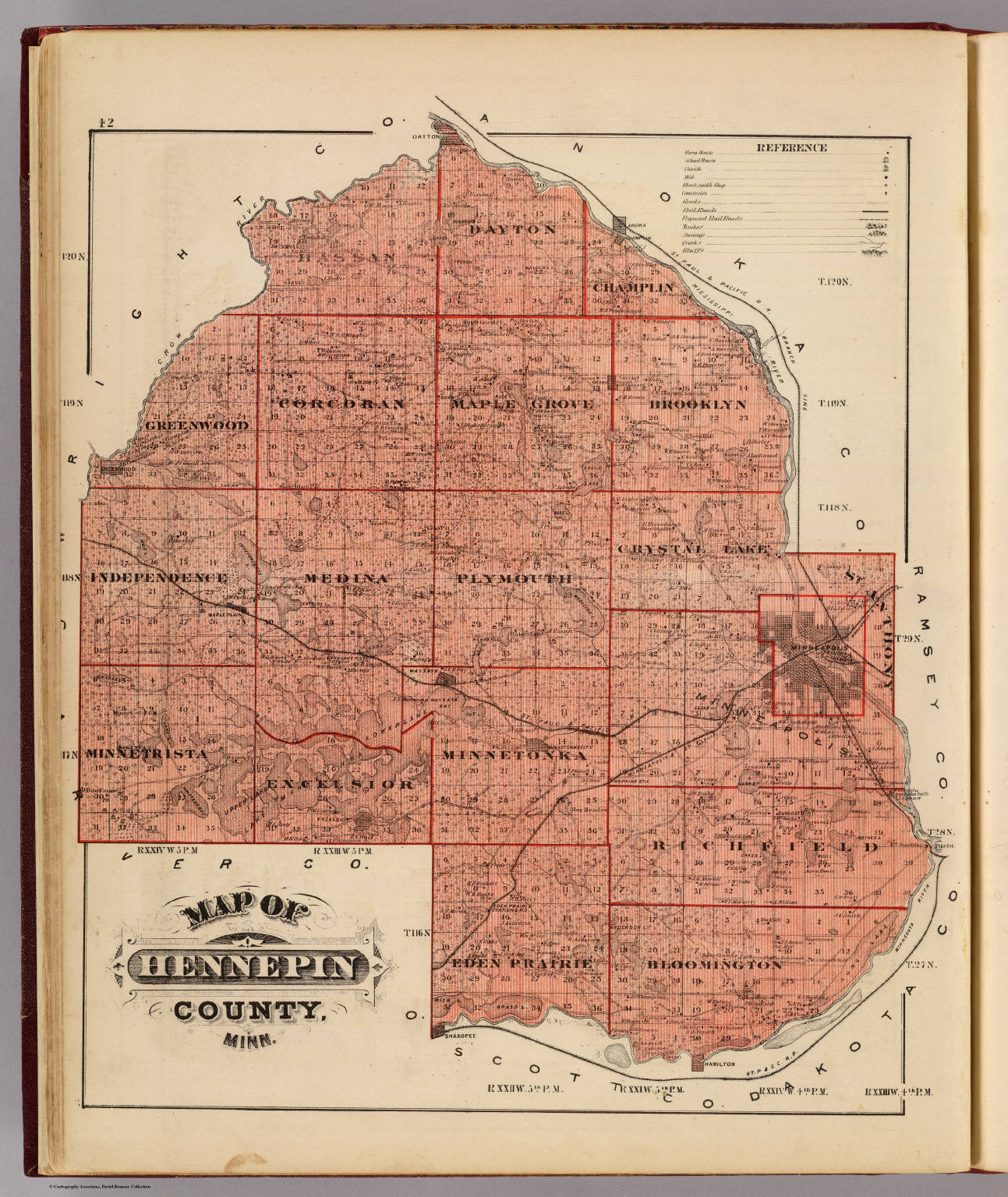 Map Of Hennepin County Minn David Rumsey Historical Map Collection - Minn map