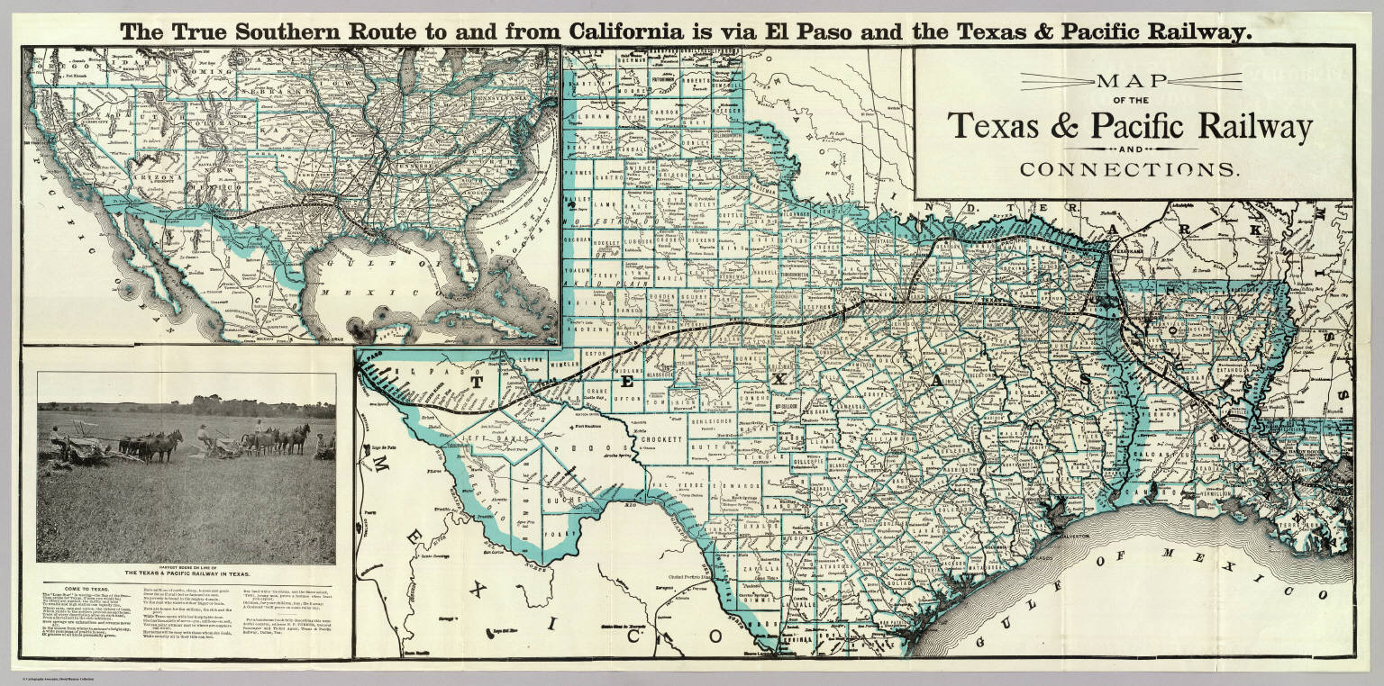 Texas Pacific Railway Connections Texas And Pacific Railway - Maptexas
