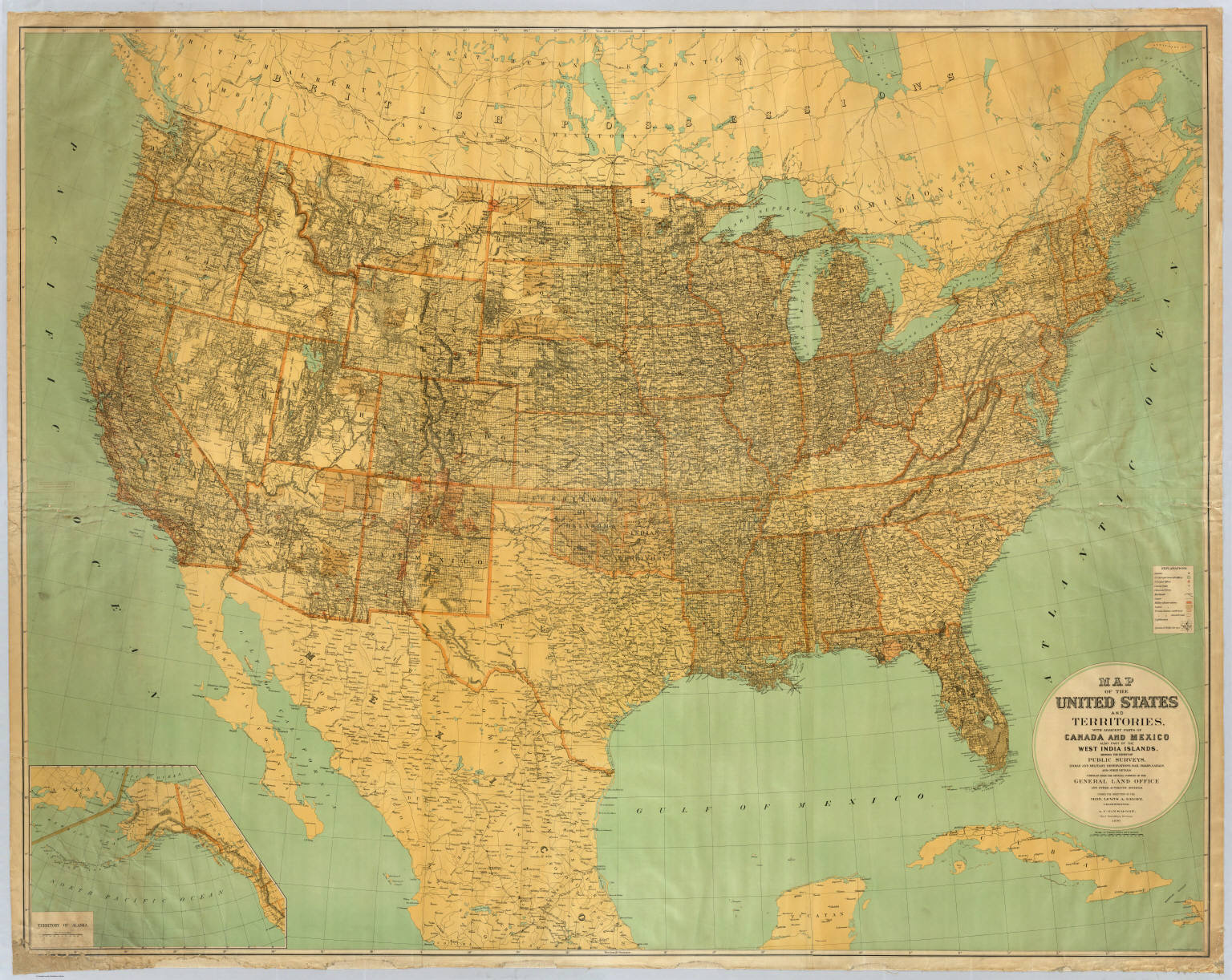States And Territories US General Land Office - Us map 1890
