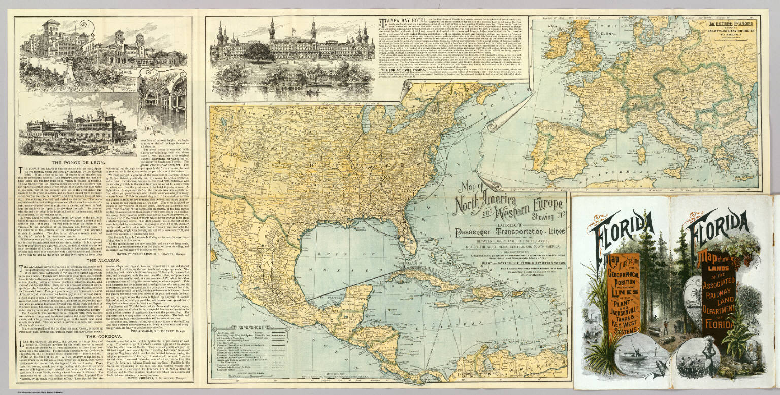N America W Europe Passenger Lines David Rumsey Historical - Map of north america and europe