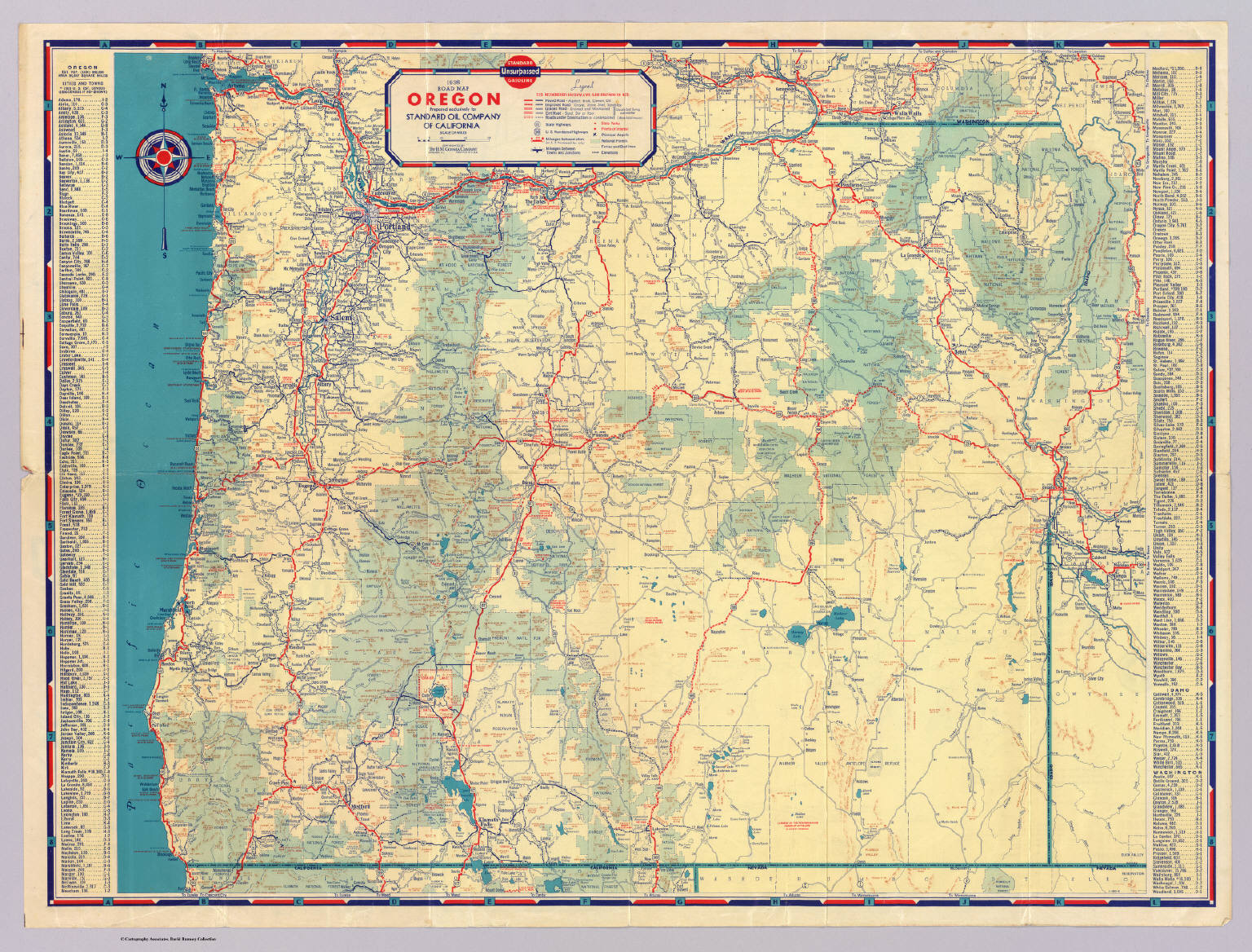 Western States Road Map David Rumsey Historical Map Collection - Portland oregon on the usa map
