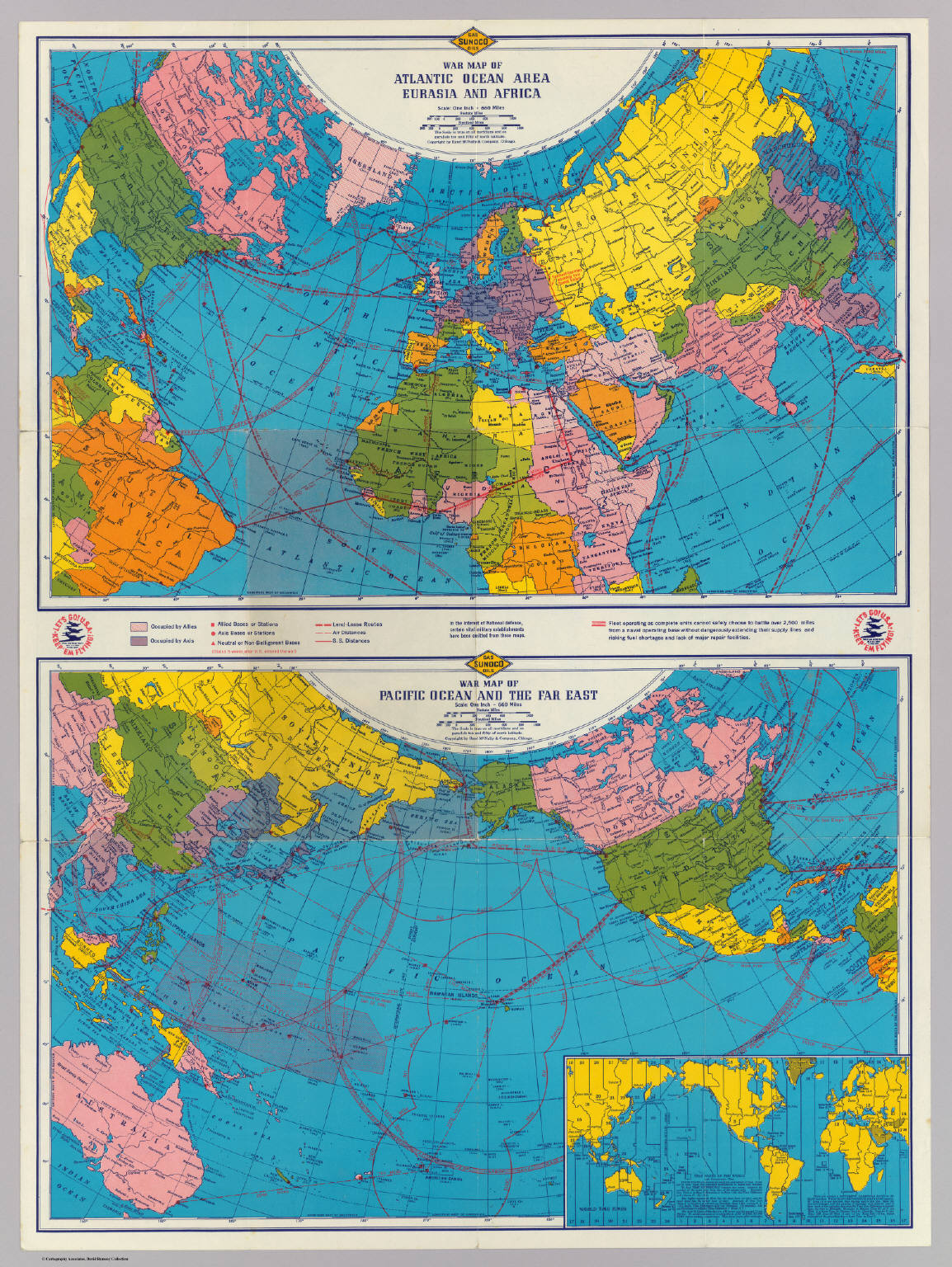 Two Maps Of The World During World War II, Probably In Either Late 1941 Or  Early 1942 [1154 × 1536].