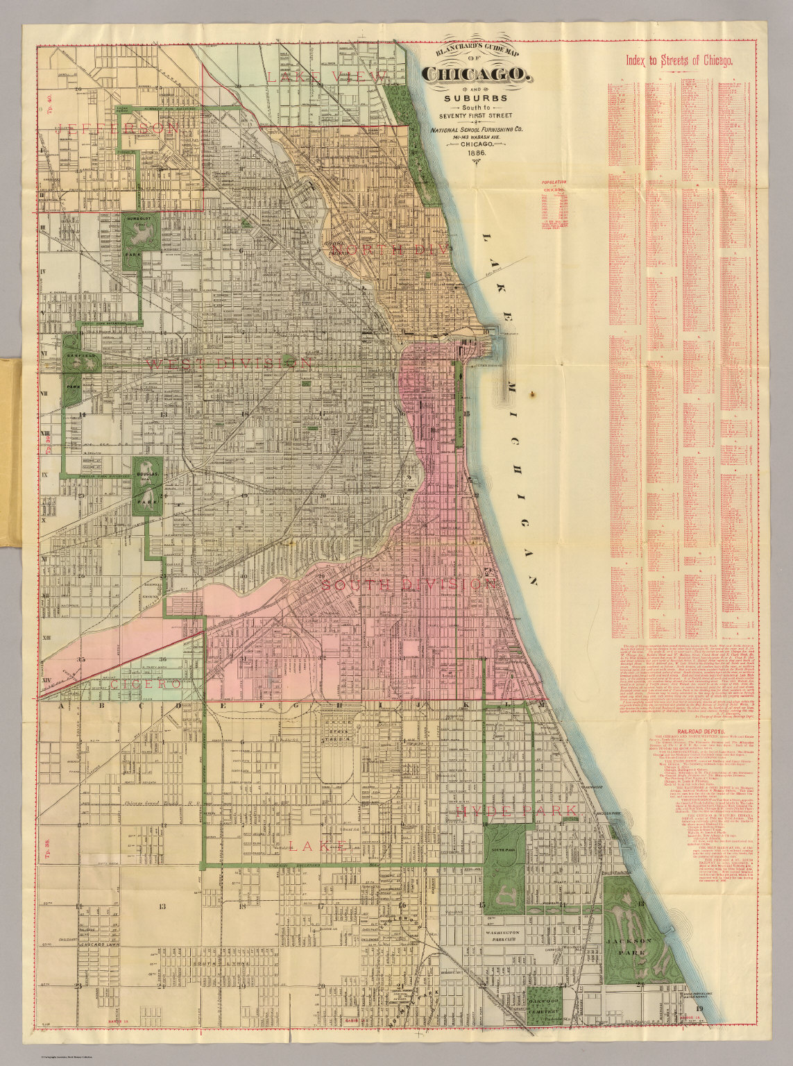 Blanchards Guide Map Of Chicago David Rumsey Historical Map - Chicago map of