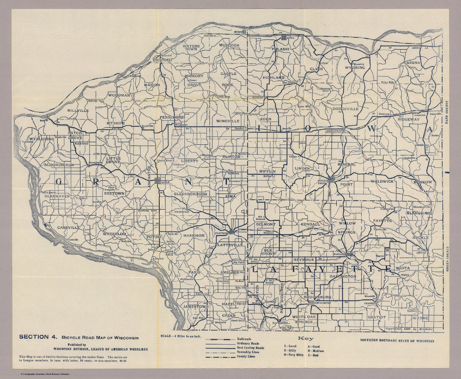 Section 4 Bicycle Road Map of Wisconsin David Rumsey – Road Map Wisconsin