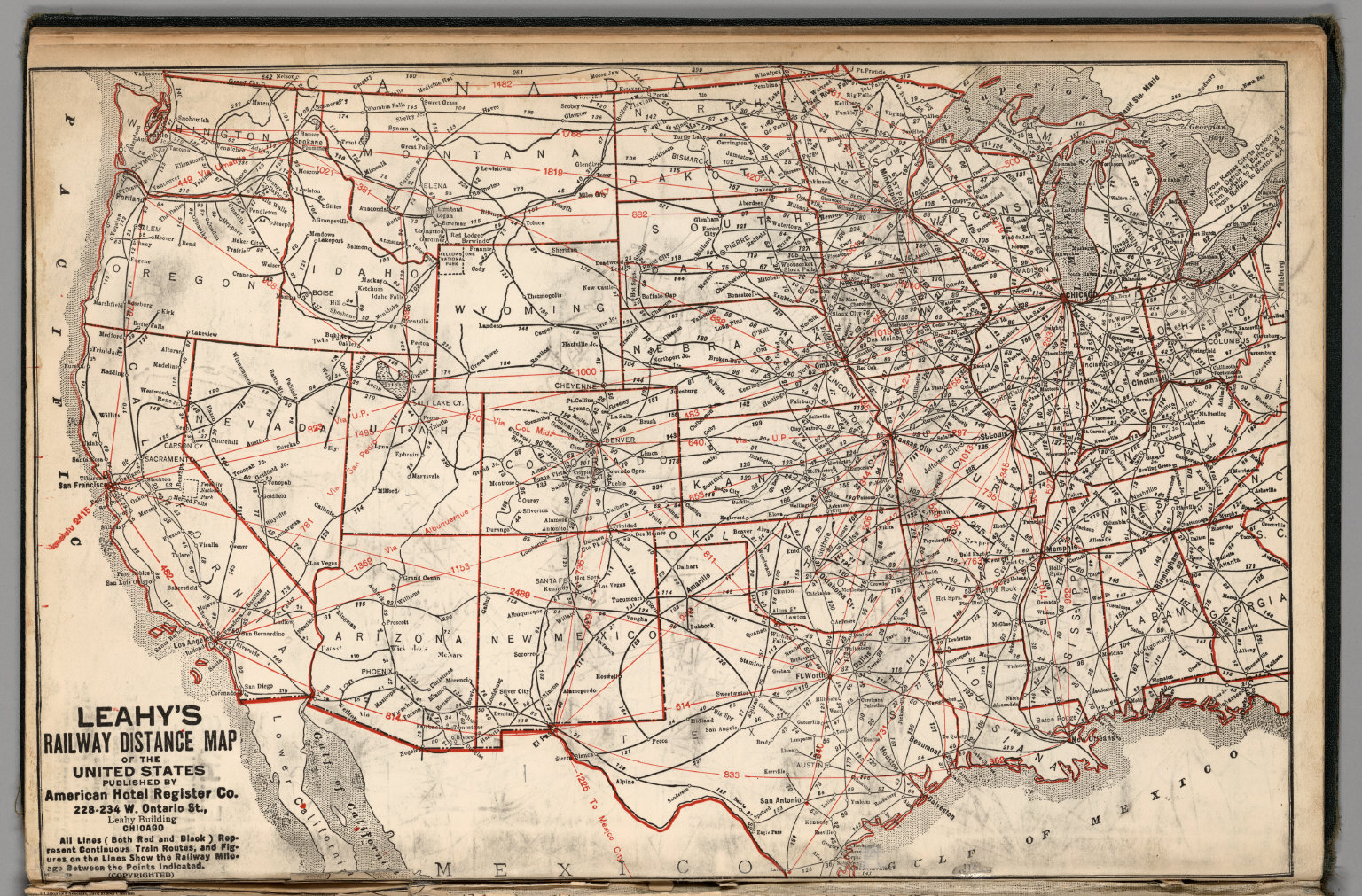 Leahys Railway Distance Map Of The United States David Rumsey - Us map distance