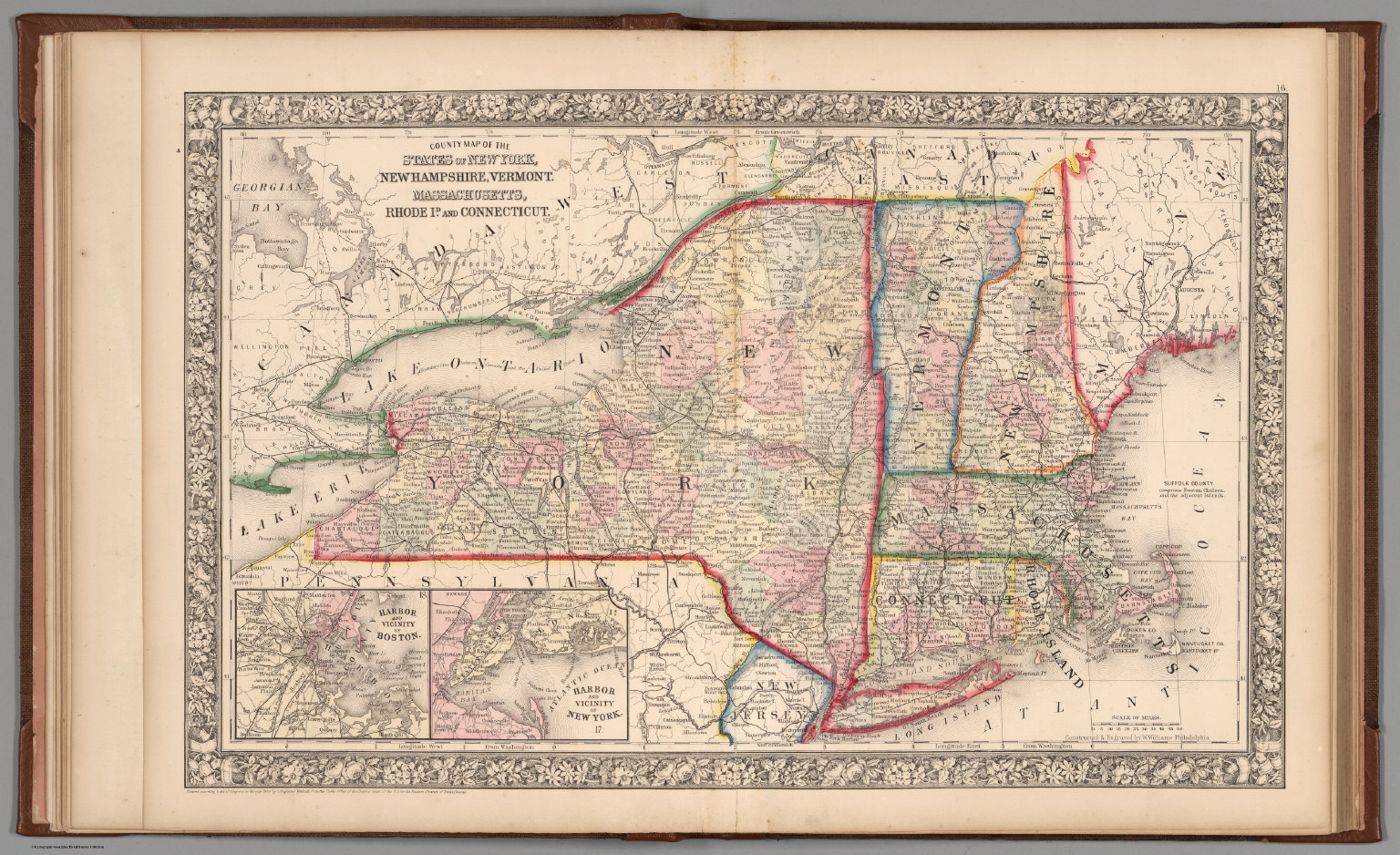 County Map Of The State Of New York New Hampshire Vermont - New york vermont map