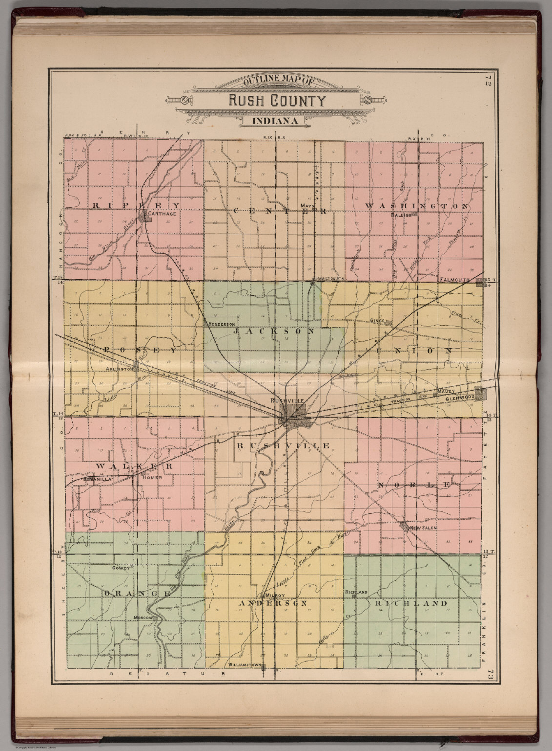 Indiana rush county - Outline Map Of Rush County Indiana