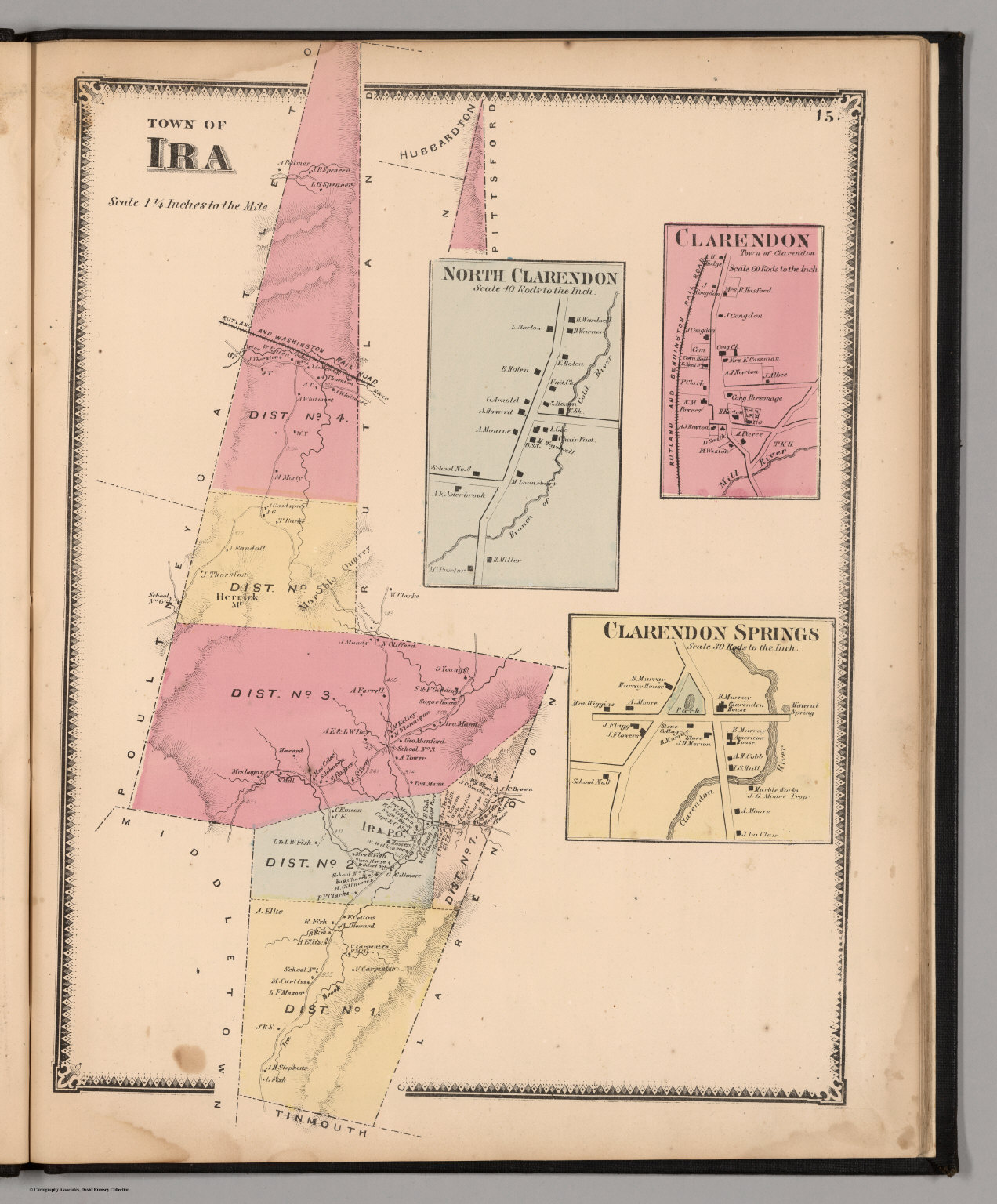 Town of Ira. (insets) North Clarendon. Clarendon, Town ofira town
