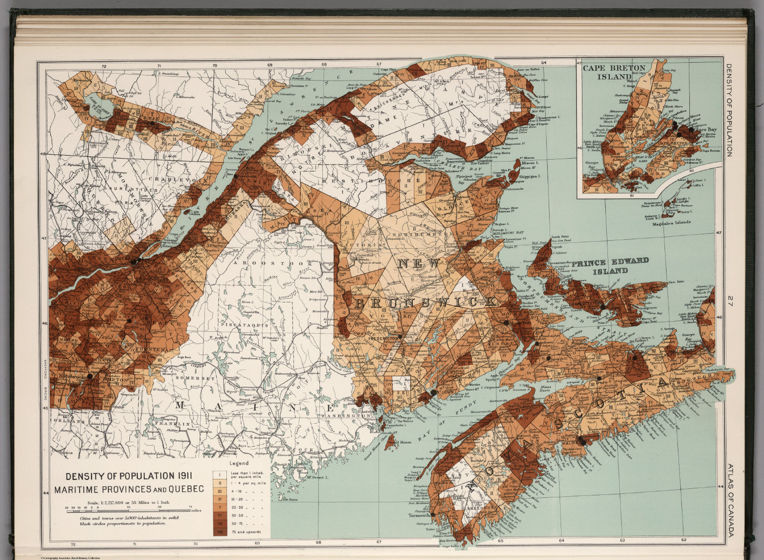 Quebec Population Density Density of Population 1911