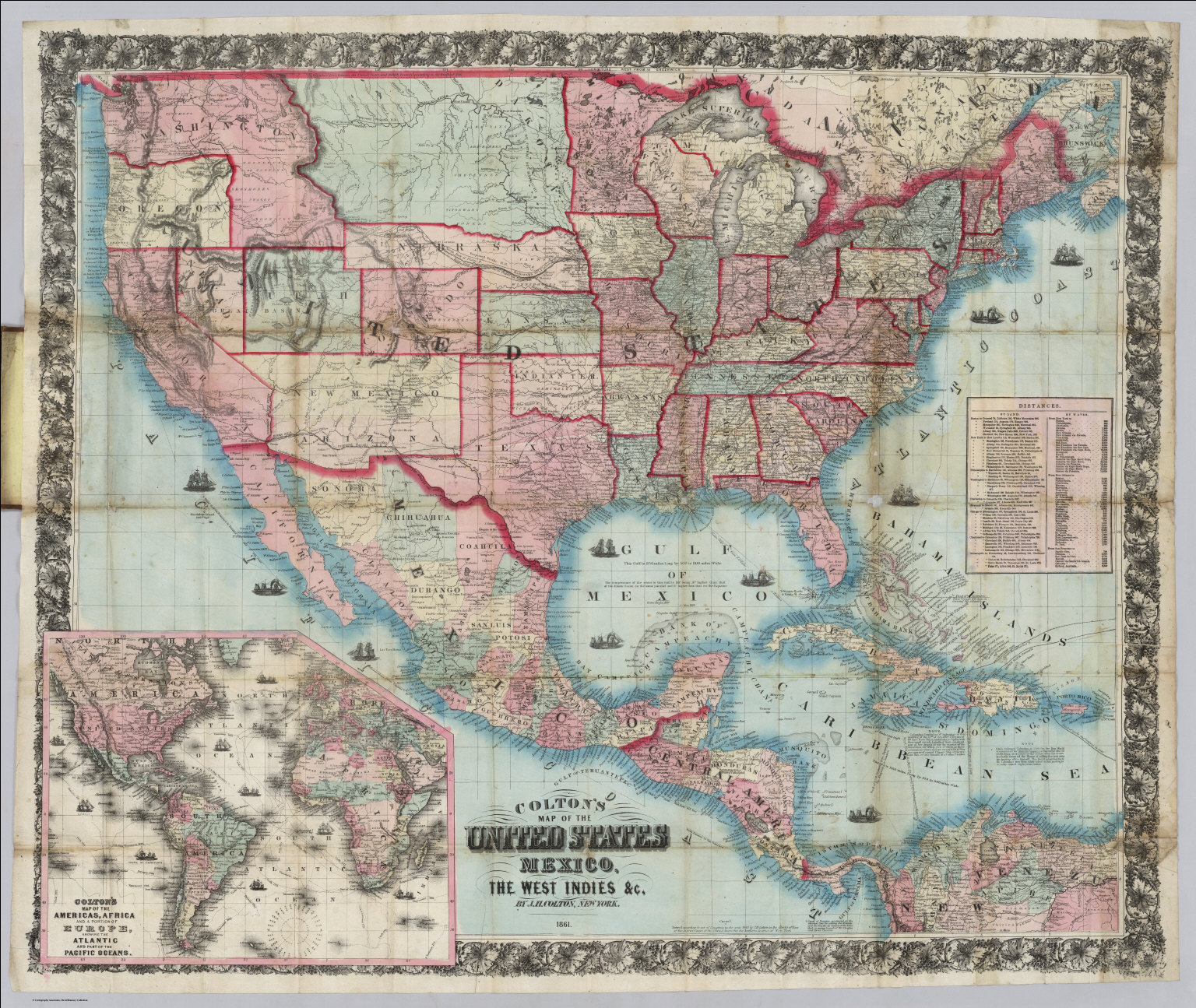 United States Mexico The West Indies David Rumsey Historical - Map of america 1860