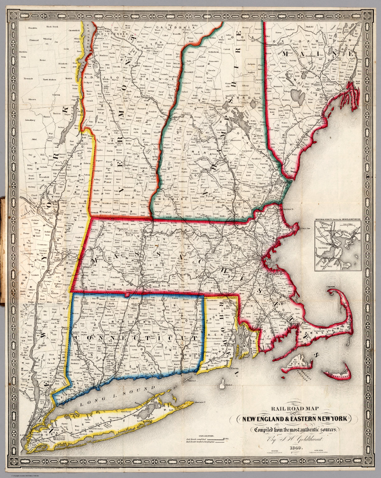 Railroad Map Of New England  Eastern New York David Rumsey - New york map road