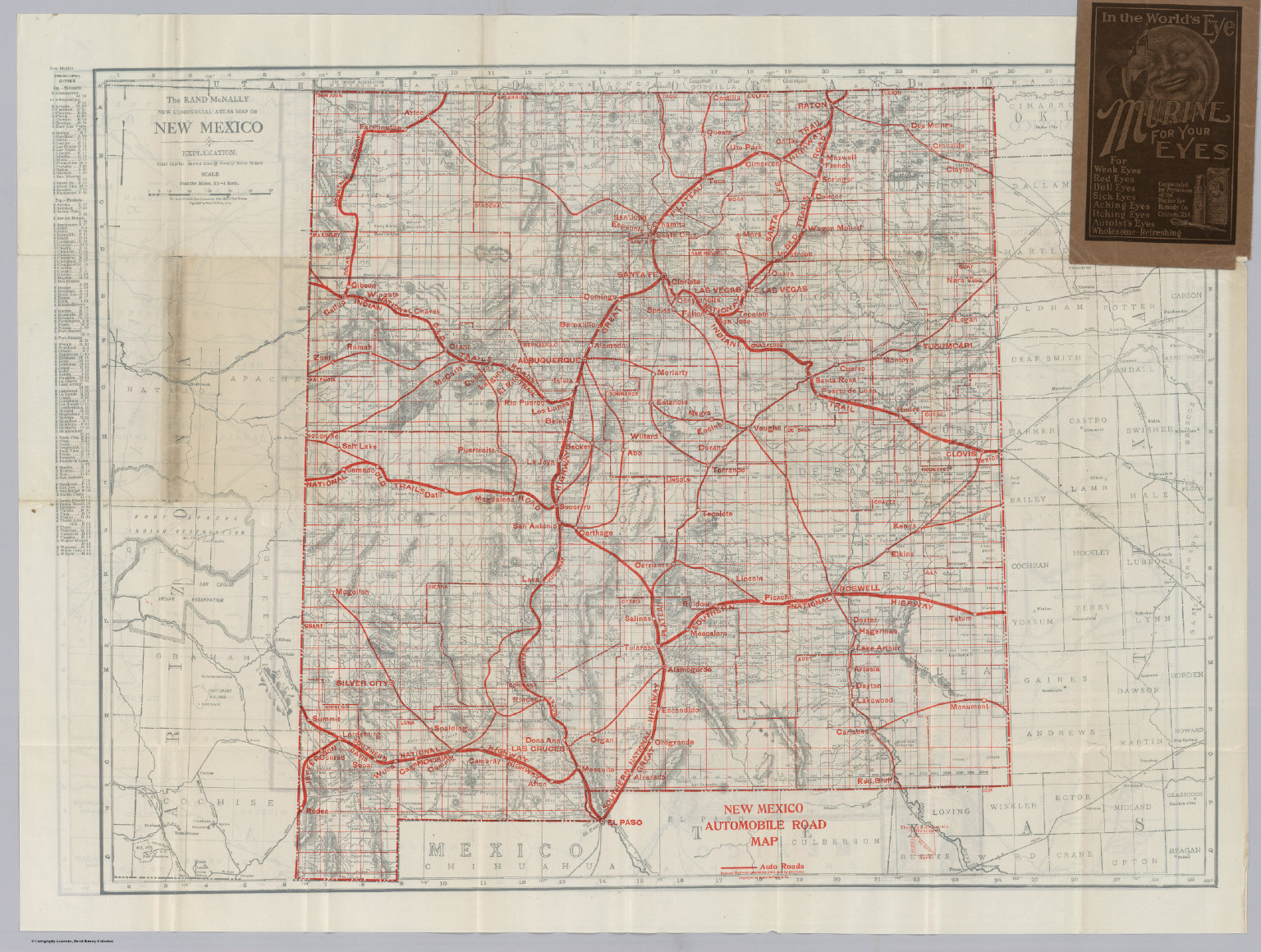 New Mexico Automobile Road Map David Rumsey Historical Map
