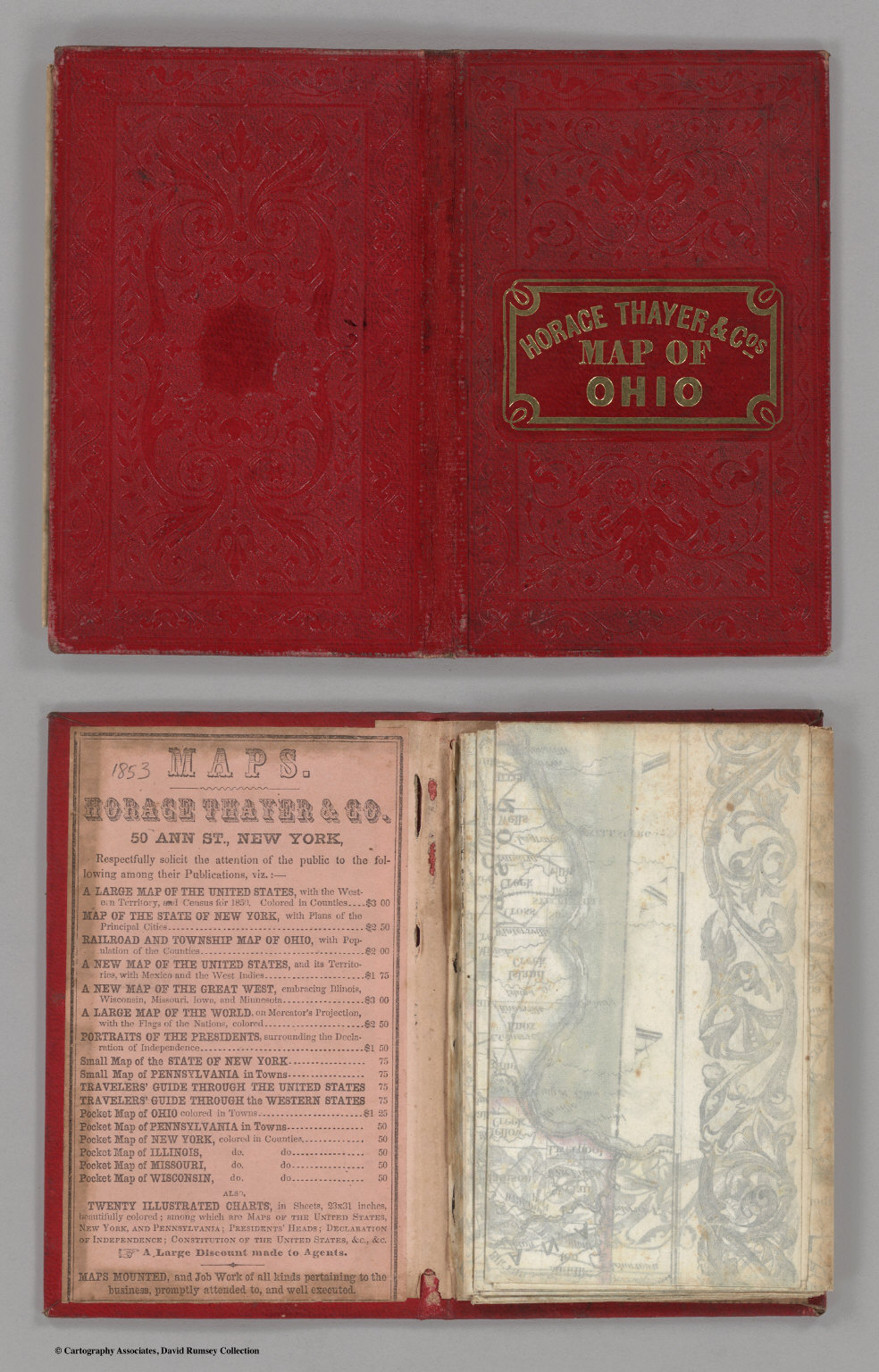 Covers to) Railroad & Township Map Of Ohio. Published By Horacethayer township
