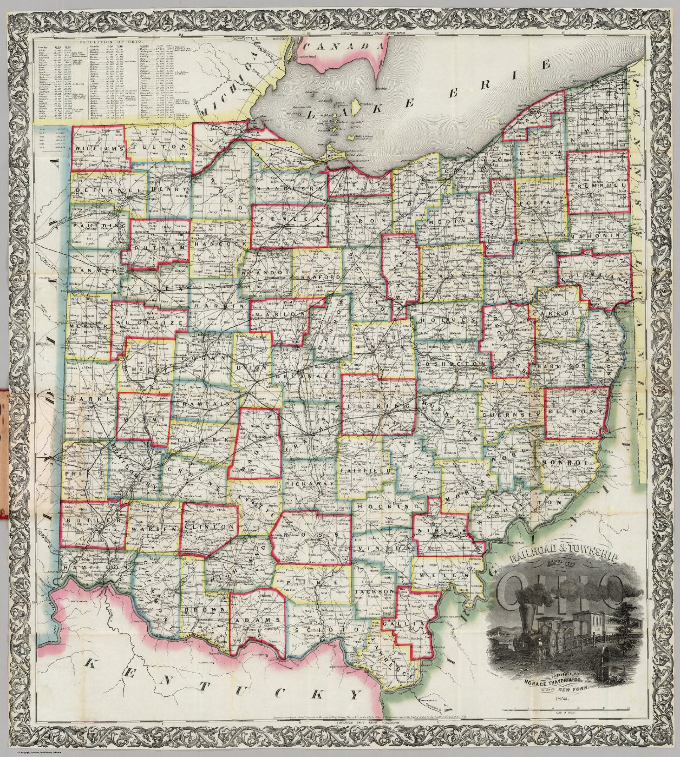 Railroad & Township Map Of Ohio. Published By Horace Thayer & Cothayer township