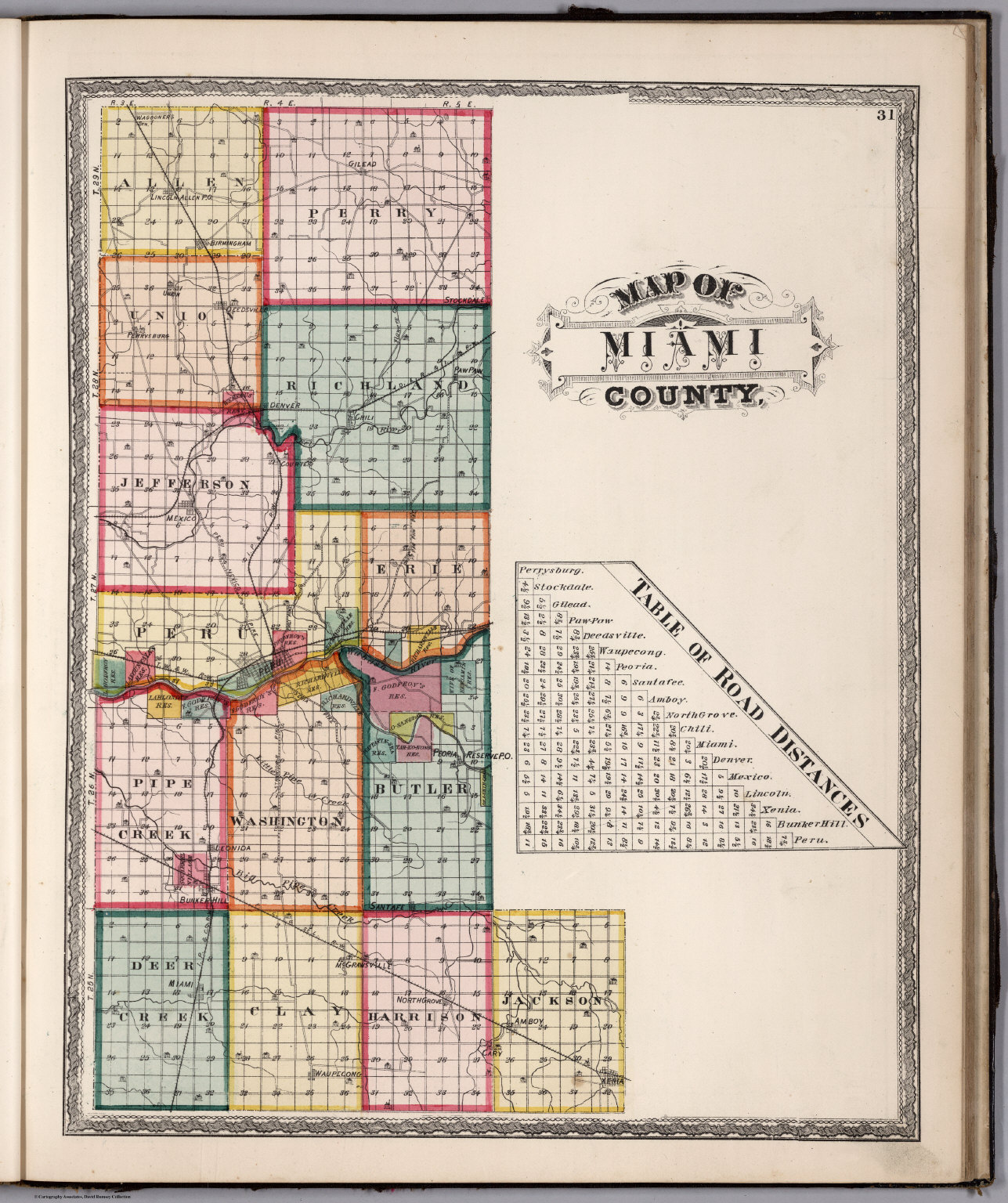 Miami County Indiana David Rumsey Historical Map Collection - Map of miami county indiana