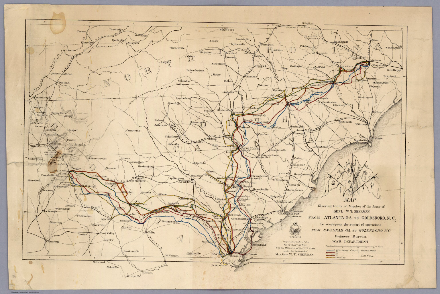 Route Of Marches Of The Army Of Genl WT Sherman From Atlanta - Map of atlanta civil war