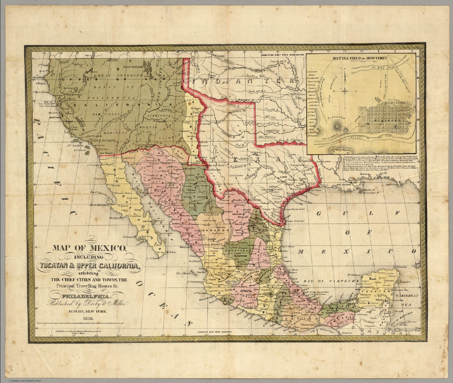 Map Of Mexico Including Yucatan Upper California David Rumsey – Map of Mexico Cities and Towns