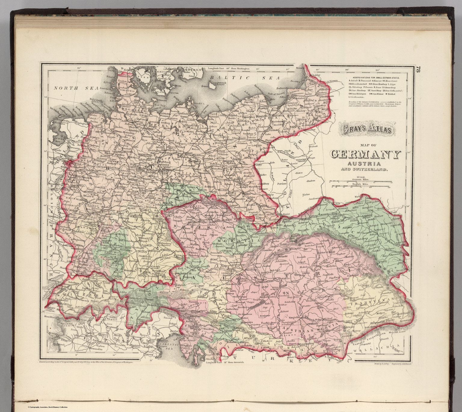 Germany Austria and Switzerland David Rumsey Historical Map – Map Austria Germany
