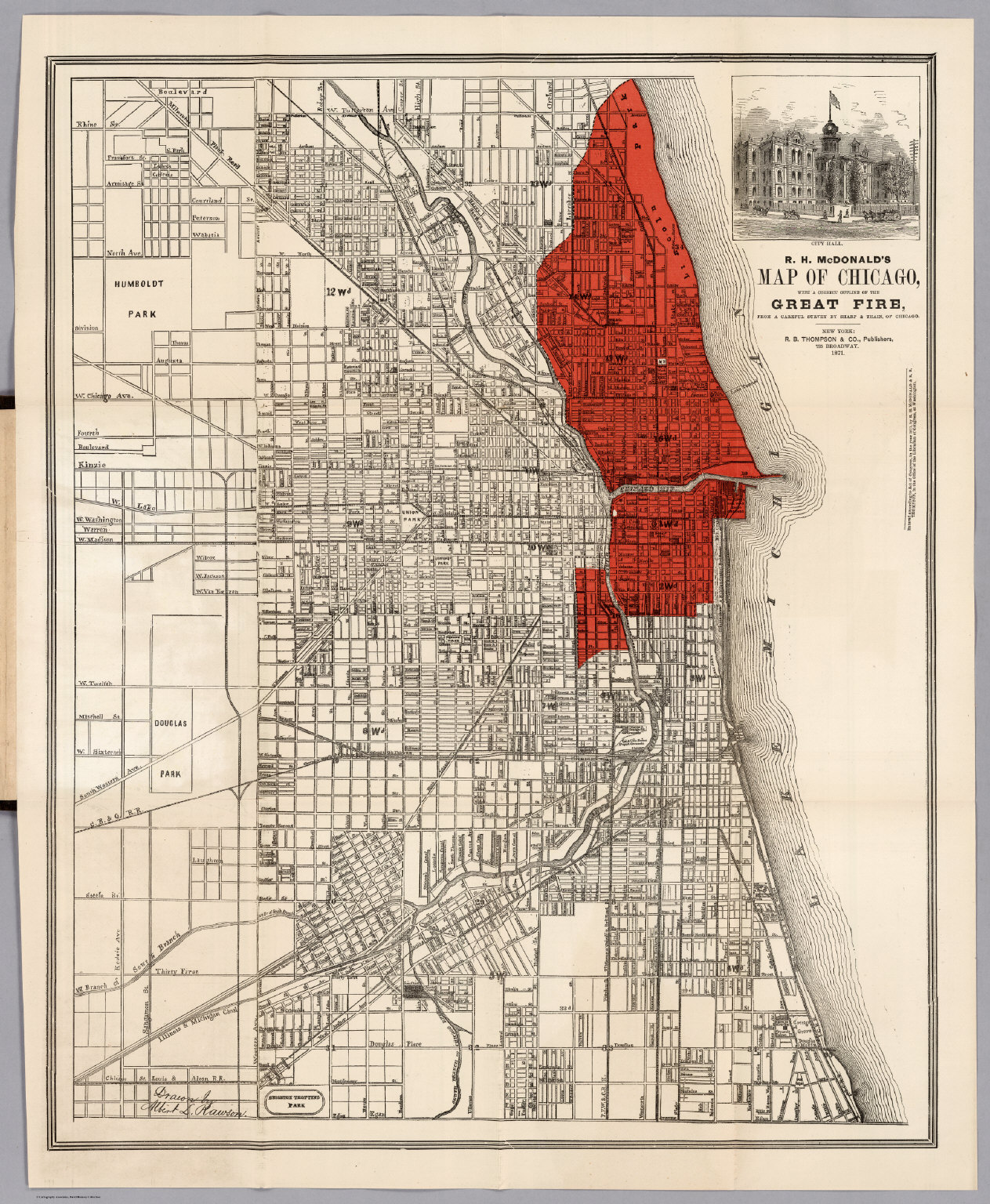 Map showing the extent of the great Chicago Fire : Maps