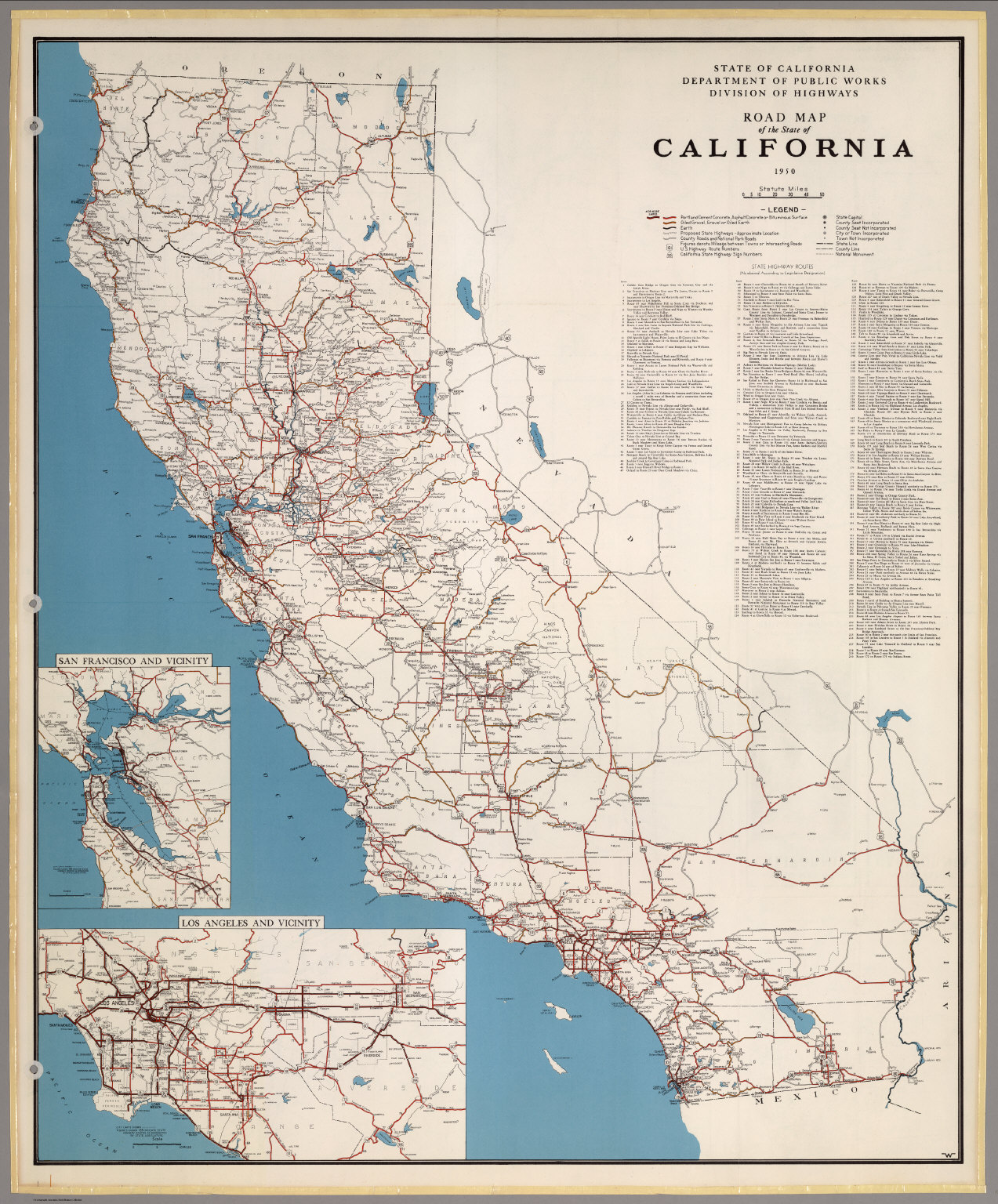 Road Map of the State of California 1950 David Rumsey – State Road Maps