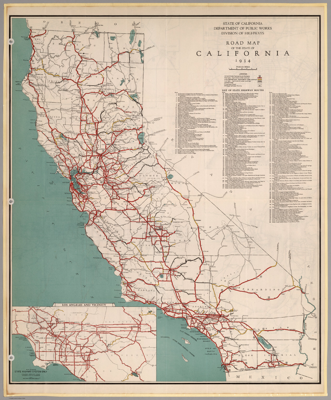 Road Map of the State of California 1934 David Rumsey – State Road Maps