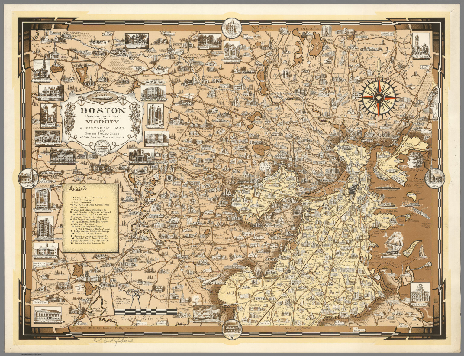 Boston Massachusetts And Vicinity A Pictorial Map David - Map of boston vicinity
