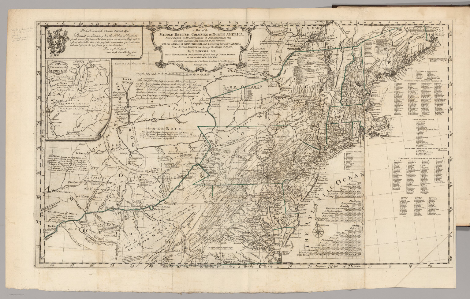 Map Of The Middle British Colonies In North America David Rumsey - Map of north america 1700
