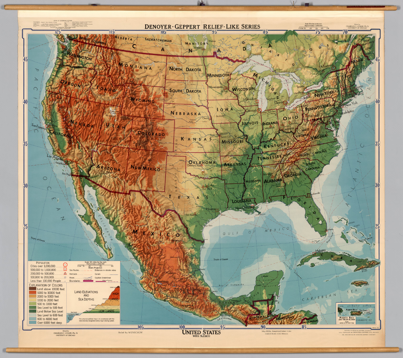United States Mexico PhysicalPolitical David Rumsey – Map of States of Mexico