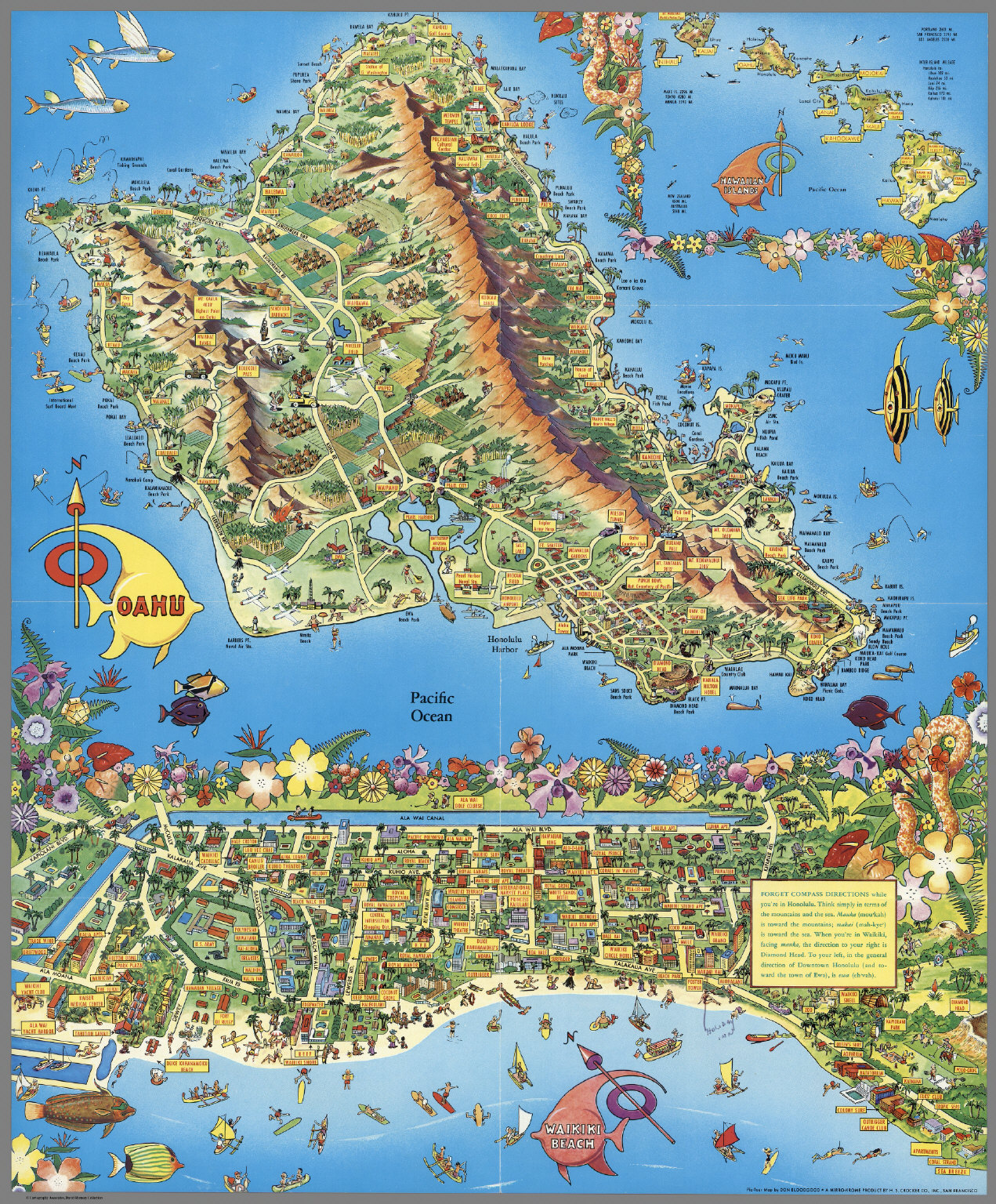 A PicTour Map Honolulu Waikiki And Round The Isle Of Oahu - Jo mora los angeles map