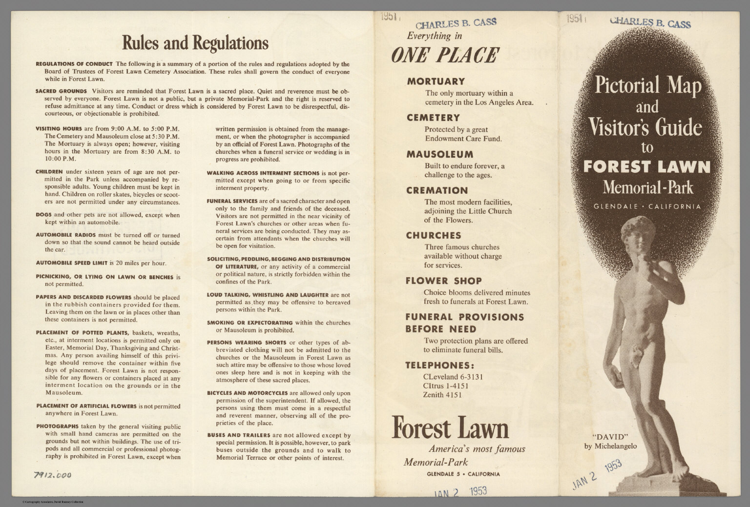 Text Pictorial Map and Visitors Guide to Forest Lawn Memorial